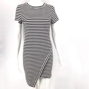 Tea n Cup Dresses - TEA N CUP Dress S Black White Stripes Asymmetrical